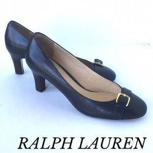 RALPH LAUREN NAVY BLUE HEEL LEATHER PUMPS
